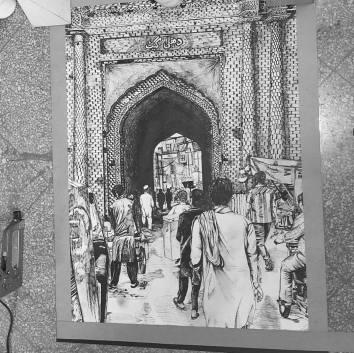 Pen Delhi Gate Drawing