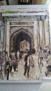 Pen Drawing Delhi Gate