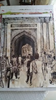 Pen Drawing Delhi Gate